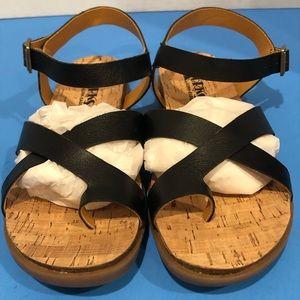 Kork-Ease Flat Black Toe Sandal